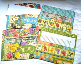 Seasonal Cash Envelope System Envelopes, Winter and Spring, Nature Bird Lover Gift, Bill Tracker, Note Pad, 3.25 x 7 Inches, Hand Stitched