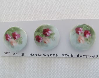 3 PORCELAIN BUTTONS Hand Painted 1920s