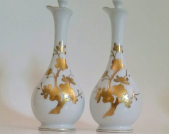 Vintage Irice perfume/cologne/ scent holders with daubers/ white porcelain with gold/Hand painted set of 2