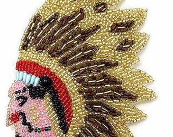"Native American Indian Chief, All Beads, 5"" x 4""  -21199a"
