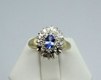Stunning Tanzanite and Diamond 14K Gold Ring  #TANDIHALO-GR4