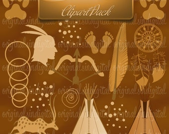 80% OFF SALE Native Roots clipart Indians, pilgrims, feathers, commercial use, vector graphics, digital clip art, digital images - pack 77