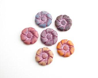 6 x Bright Large Flower Czech Glass Beads, Blue Flower Beads, Large Flower Beads, Pink Flower Beads, Yellow Flower Beads FLW0350