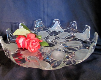 Pedestal Clear Cake Plate / Mouth Blown Frosted and Clear Pedestal Cake Stand