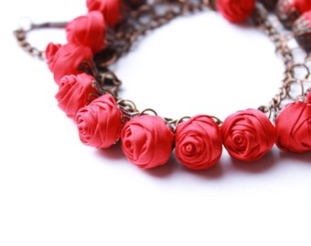 Fabric bracelet Rose bracelet Red textile bracelet Fabric jewelry Flower bracelet Floral jewelry Clusters bracelet Friendship bracelet