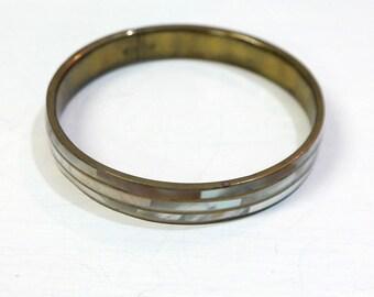Vintage brass and shell bracelet