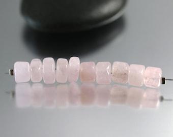 Pink Morganite Beads - 7mm - Morganite Beads - Set of 10 Hex