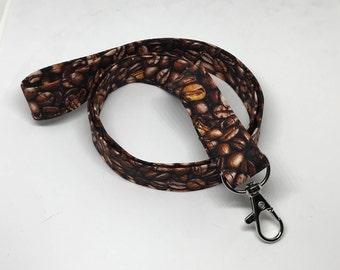 Coffee Bean Lanyard - Coffee Lover - Key / Badge / ID Holder