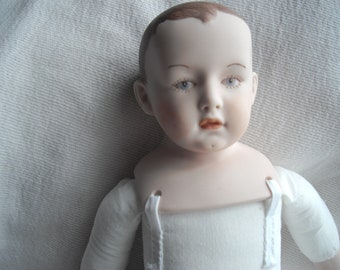 Porcelain Baby Doll/ Boy/Girl Baby/ Ceramic Doll/ Painted Head/Painted face doll/ collectible doll/ Vintage doll/ Cloth body/No clothes doll