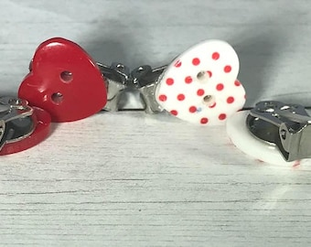 Clip-on Polka Dot Heart Button Earrings, Red Heart Button Earrings, Valentine Earrings, Buttons Earrings, Shiny Earrings, Minimalist Earring