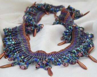 Herringbone Bead Woven Garden Twilight Necklace OOAK