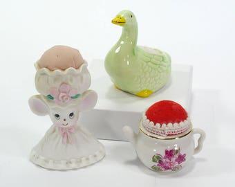 Vintage Lot of 3 Pincushions - Lefton China Mouse Pincushion - Teapot Pincushion - Green Goose Pincushion - Japan & Taiwan - Novelty