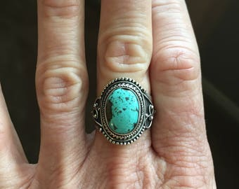 Santa Rosa Turquoise, 925 Sterling Silver, Vintage Style Ring 7.5