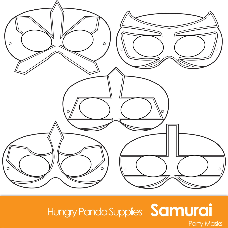 Samurai Printable Coloring Masks Printable Mask Paper Mask