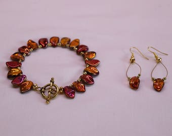 Fall bracelet and earring set