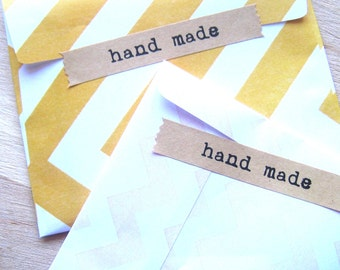 "Kraft Stickers ""Handmade"" Set of 24 - Handmade Stickers - Kraft Labels - Pennant Stickers - Flag Stickers"