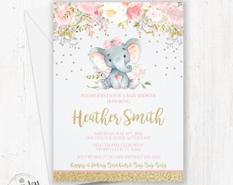 Elephant Baby Shower Invitations, Pink and Gold Elephant Girl, Floral Elephant Invite, Pink Elephant, Safari Baby Shower, Floral Elephant
