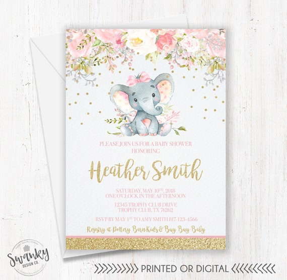 Elephant baby shower invitations pink and gold elephant girl filmwisefo