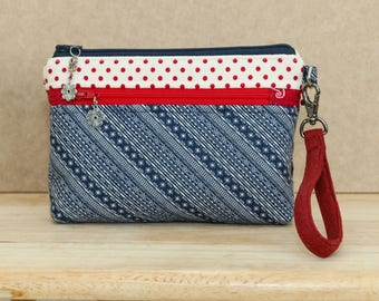 On The Go Wristlet - Patriotic, red blue, dots stripes - removable wrist strap, optional crossbody strap - inside card slots