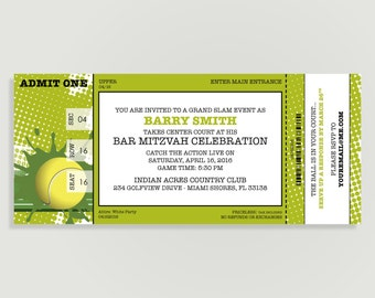 Tennis Invitation Ticket - Birthday - Tennis Theme Birthday - Personalized Printable File or Print Package - GRAND SLAM  #00125-PI10