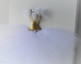 "Tutu canvas ""Swan"". Princess dress wall art. Gold and white princess dress canvas. A single 10x10 3D tutu dress wall decor."