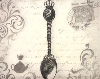 Napkin Royal spoon - black and white