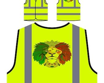 Lion Cannabis Rasta Personalized Hi Visibility Safety Jacket Vest Waistcoat u489v