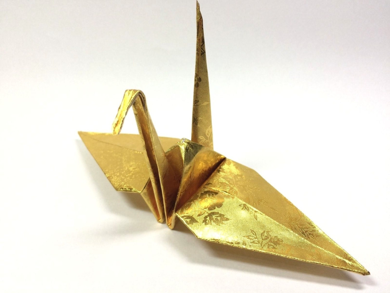 100 origami paper crane in gold with rose pattern 6 inch zoom jeuxipadfo Gallery