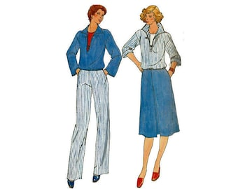 Fast & Easy Top Skirt Pants Size 12 Bust 34 Uncut Sewing Pattern Misses Wardrobe outfits 1970s Butterick 5883 Sewing Pattern