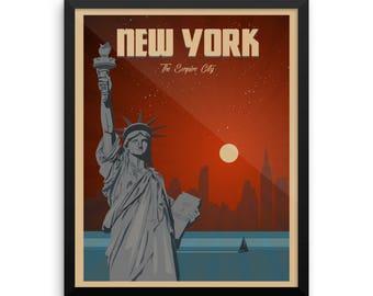 New York   The Empire City   Vintage Travel Poster   Framed