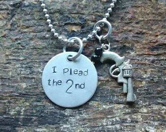 I Plead the 2nd hand stamped pendant. Your choice of either Necklace or Keychain