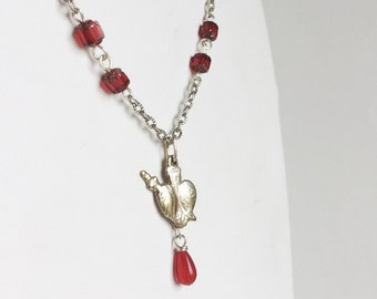 Silver Heart Necklace, Heart and Dagger Milagro Charm Pendant, Red Glass Teardrops, Silver Chain, Handmade One of a Kind Bleeding Heart