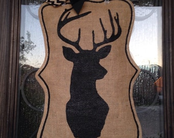 Hand-Painted Deer Head Silhouette Burlap Door Hanger