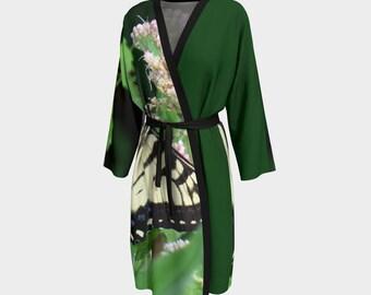 Canadian Tiger Swallowtail, Butterfly, Peignoir, Robe, Wedding Robe, Bridesmaid Robe, Bathrobe, Housecoat, Wrap, Cover up, Beach Cover up,