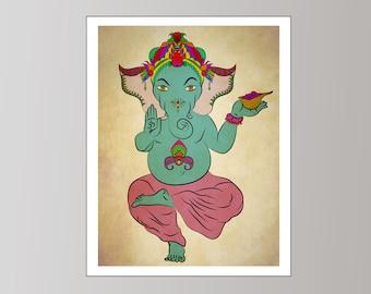 Ganesha Art Print, Ganesh Art Print, Ganesh Design, Hindu Ganesh Wall Art, Hindu Home Decor, Hindu Ganesha Art Print