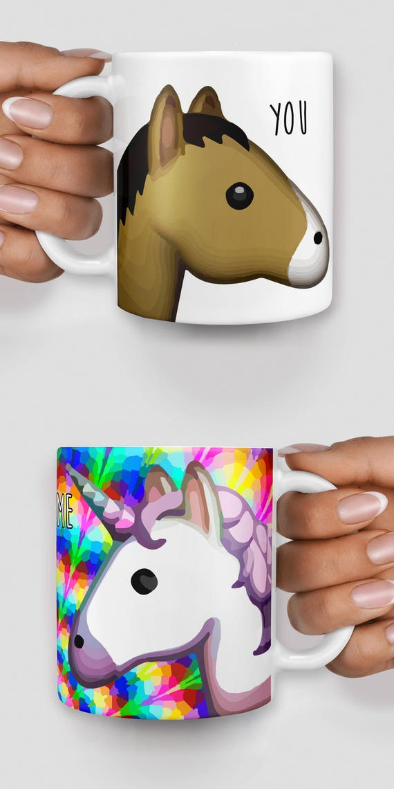 Rainbow unicorn and horse you and me emoji mug - Christmas mug - Funny mug - Rude mug - Mug cup 4P088