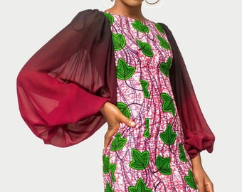 African Print Dress, Ankara Dress, African Womens Clothing, Womens Clothing, Womens wear, Flared dress, Dress