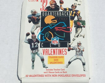 NFL Quarterback Valentines Cards - 32 Vintage Football Cards with Box - NFL Club - 1990's Vintage Cleo Sports Valentines Day Cards