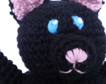 Cat Stuffed Animal - Black with Pink Nose and Paws - Crocheted Plush - Machine Washable