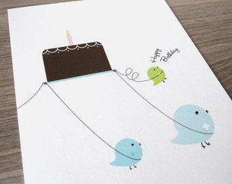 Birthday Card - Cute Birthday Cake Party. Eco Friendly