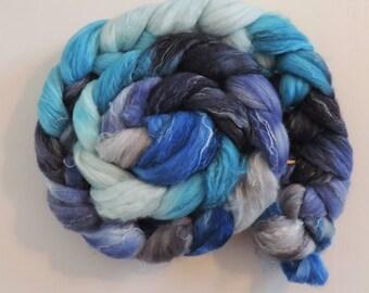 Merino Nylon Leinen,Winterwind, handgefärbte Fasern zum Spinnen,125g Kammzug
