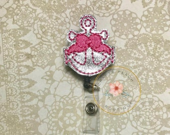 Anchor with pink Bow Badge Reel/ Badge Reel Cover/Retractable ID/Teacher Badge/ Nurse/Pediatrician/Doctor/Student