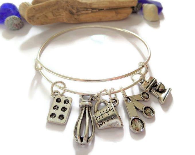 baking bangle, bake bracelet, cake baker gift, baking gift, baking jewellery, bake off, xmas gift, birthday present, baker jewellery