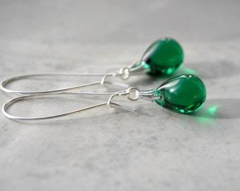 Dark Green Earrings, Green Drop Earrings, Green Dangle Earrings, Teardrop Earrings, Dark Green Jewelry, Gifts for Women, Popular Items