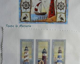 transfer 178. set of textile transfer: STYLE sailor, sea, LIGHTHOUSE