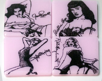 Pinups Fused Glass Coaster 4-pack