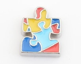 Autism Spectrum Puzzle Floating Locket Charm Living Memory Lockets Jewelry Making Supplies - 62i