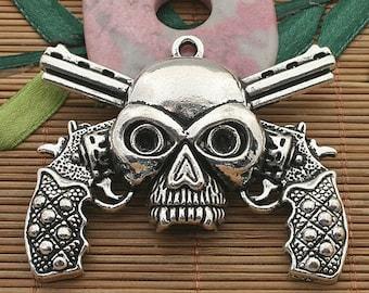 1pcs dark silver tone skull pendant charm h3714