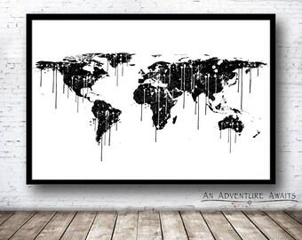 24x36 poster etsy paint splatter world map print travel poster world map poster world map art gumiabroncs Images