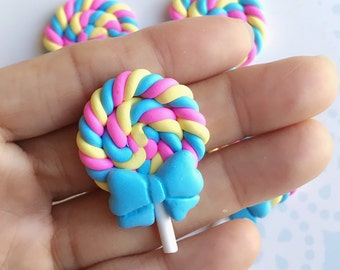 2 pcs.25x38mm.Miniature Lollipop Cabochon,Miniature Lollipop Minnie,Cabochon,Miniature Sweet,Mobile Accessories,Rainbow